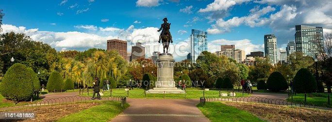 Boston, Massachusetts, USA - October 17, 2018:  George Washington Statue Memorial in the Boston Common on the historic Freedom Trail in Massachusetts USA