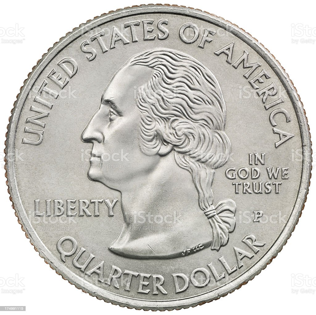 George Washington's commemorative quarter coin stock photo