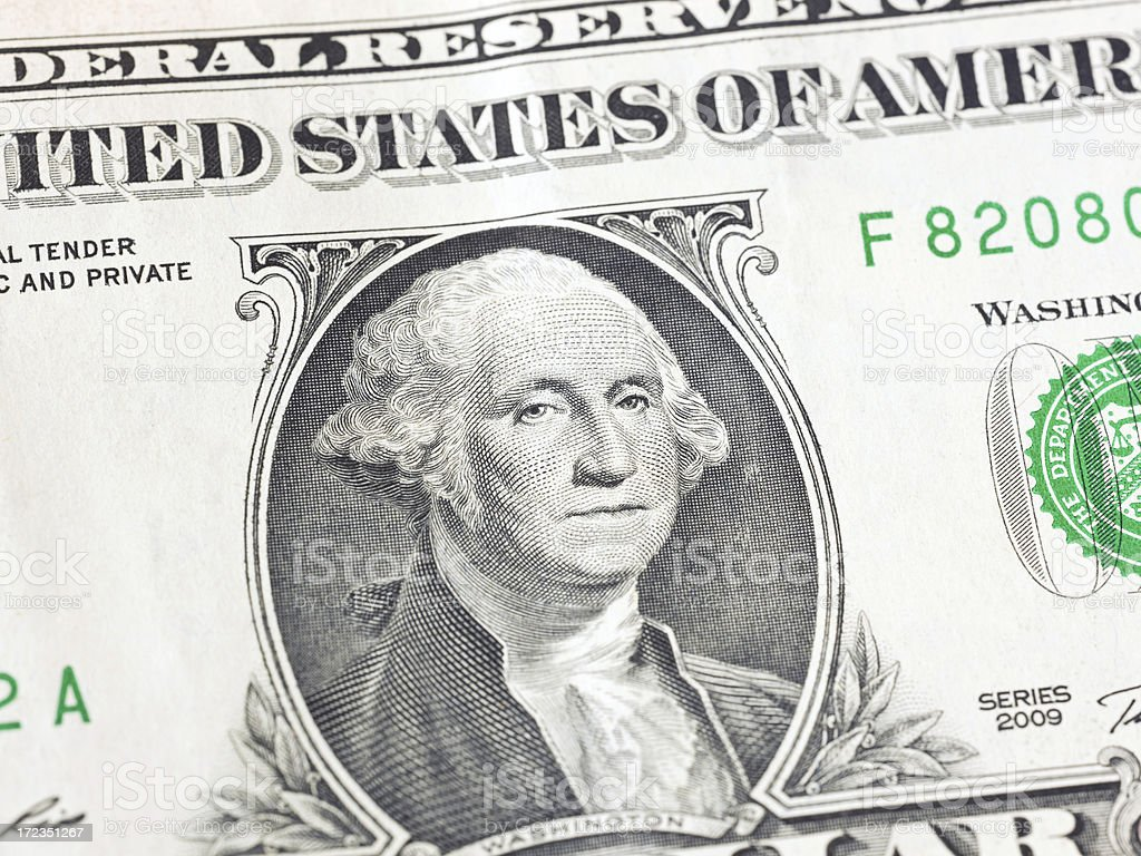 George Washington's face on a dollar bill royalty-free stock photo