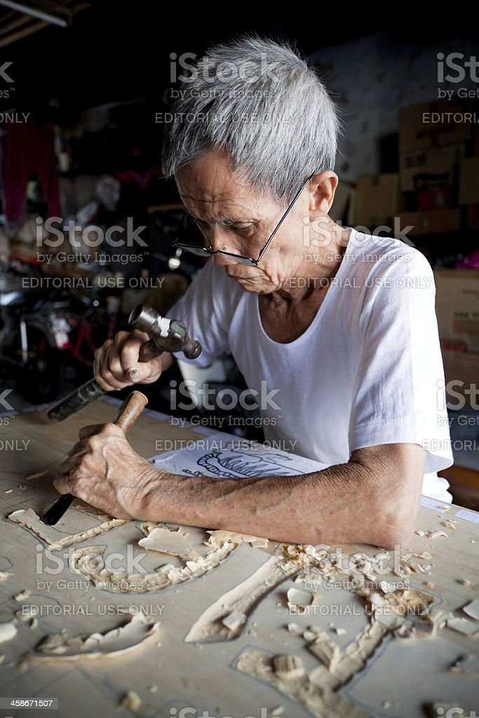 georgetown penang chinese signboard engraver royalty-free stock photo