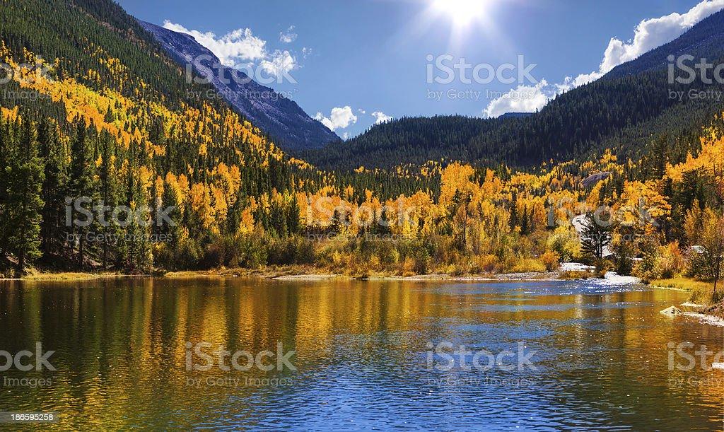 Georgetown Reservoir in Autumn stock photo
