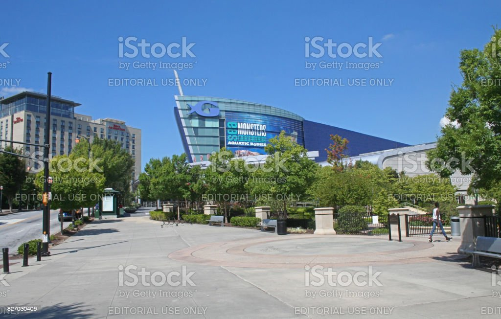 Georgia aquarium and downtown stock photo