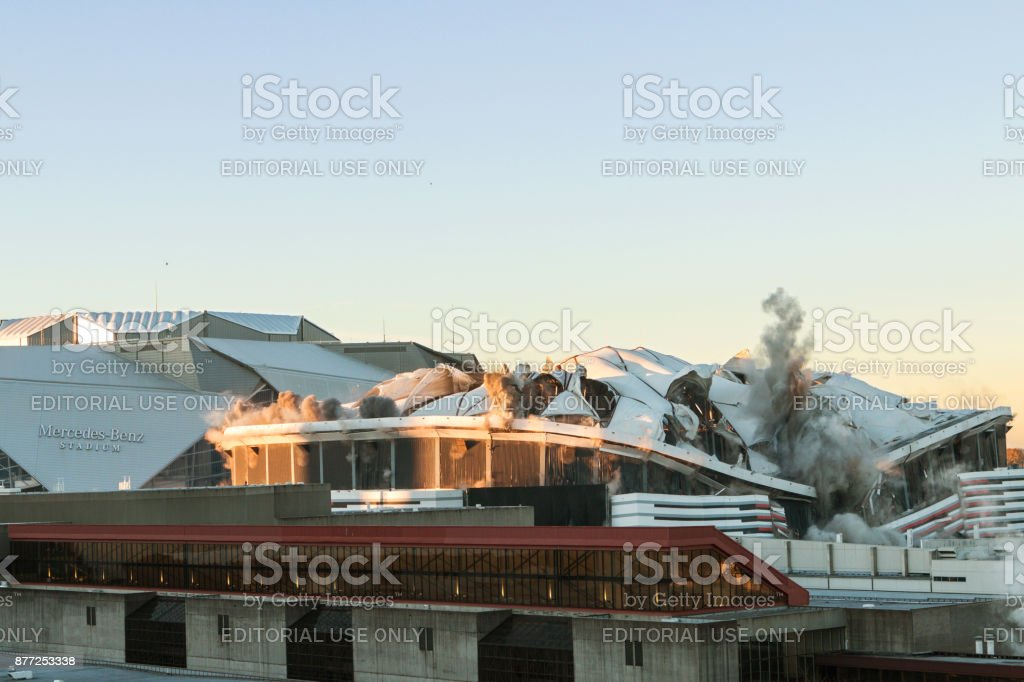 Georgia Dome Collapses During Implosion Process In Atlanta stock photo