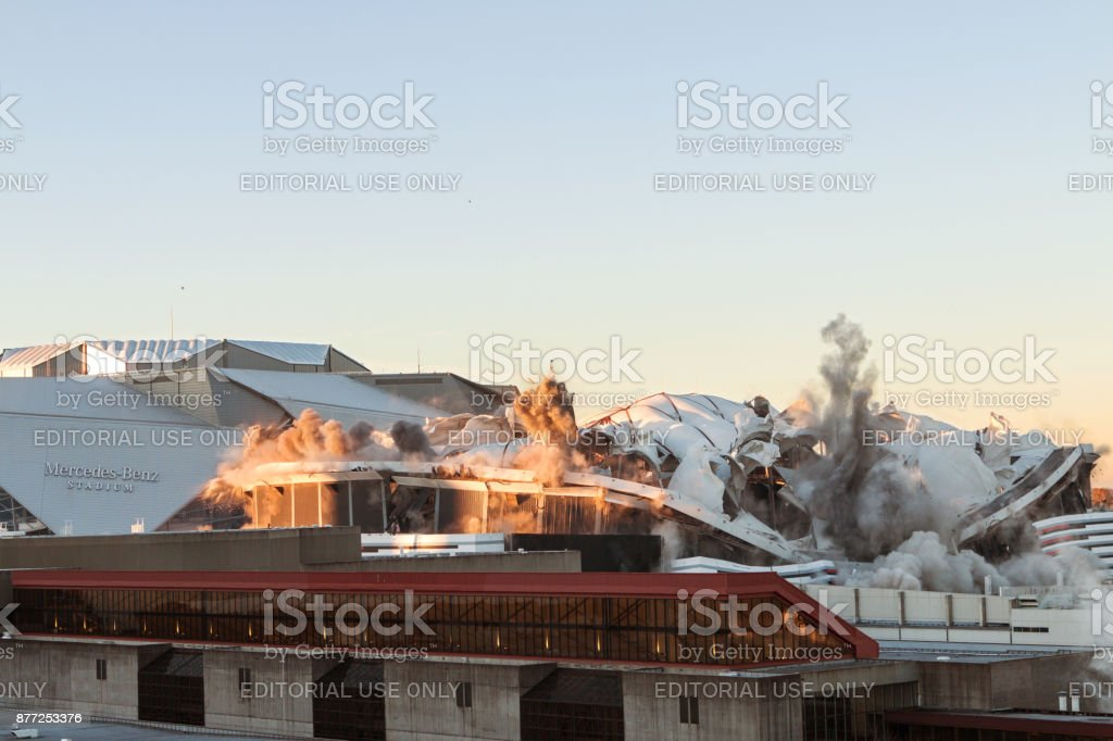 Georgia Dome Is Imploded And Collapses On Itself In Atlanta stock photo