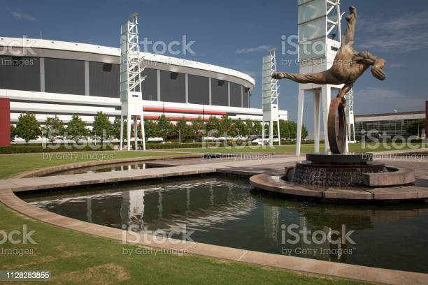 Georgia Dome Stadium and The Gymnast sculpture in the Centennial Olympic Park