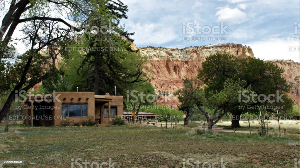 Georgia O'Keeffe Cabin at Ghost Ranch stock photo