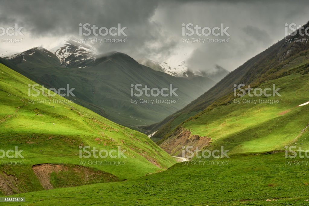 Georgia: scenic view of Enguri river valley with Shkhara mountain on the background stock photo