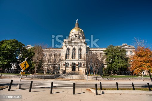 Savannah, USA - November 28, 2019:  Exterior of the Georgia State Capitol building in the downtown core of Atlanta USA