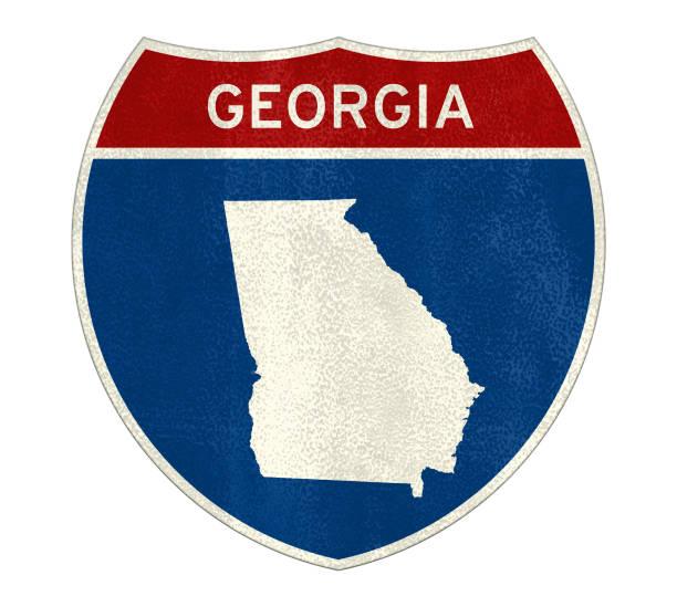 Georgia State Interstate road sign stock photo