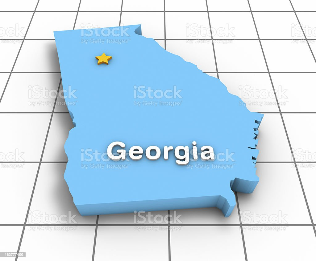 Georgia State Map 3D royalty-free stock photo