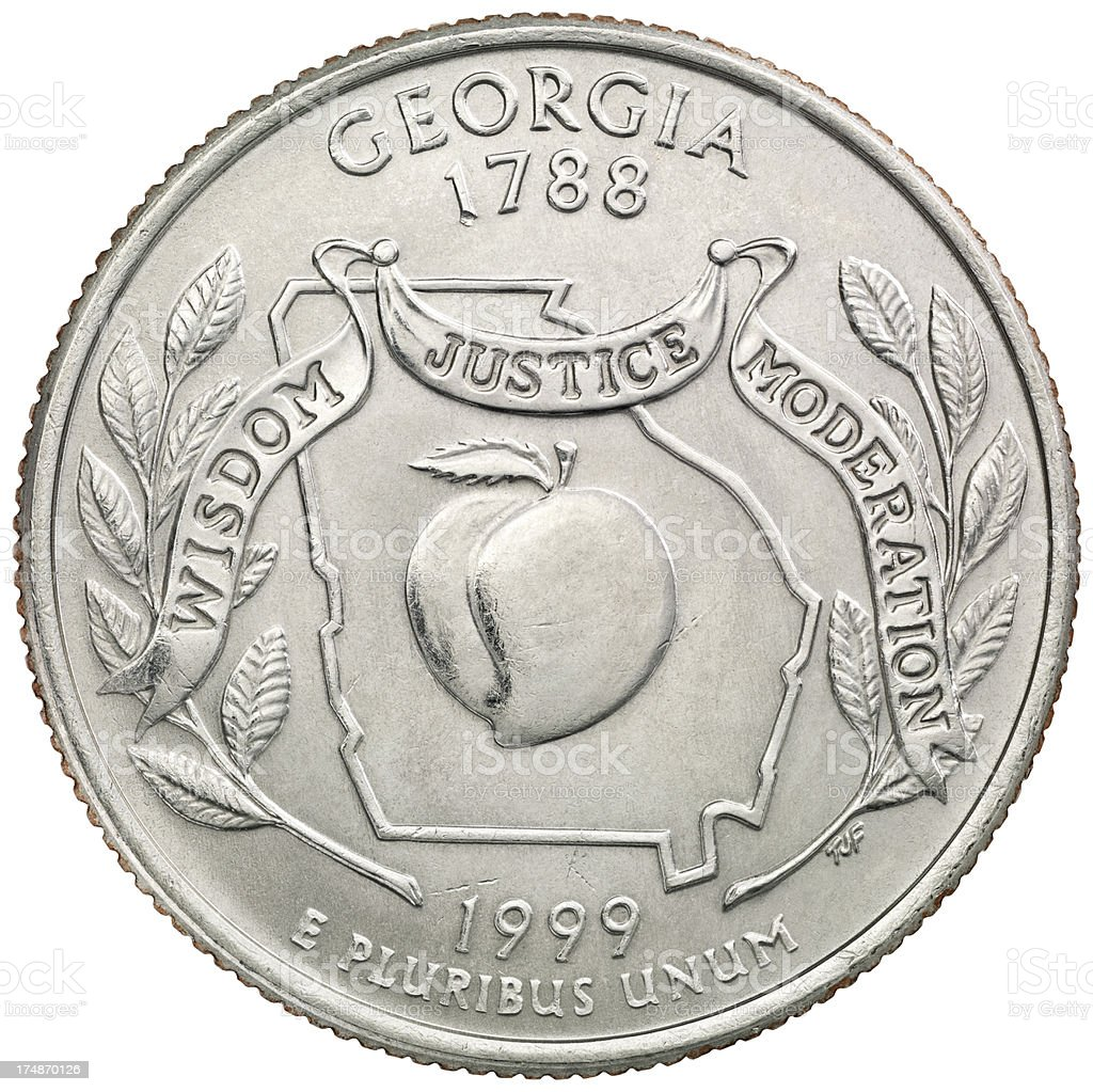 Georgia State Quarter Coin royalty-free stock photo
