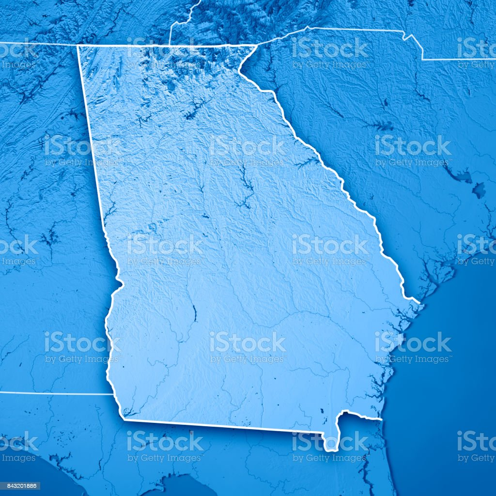 Georgia State USA 3D Render Topographic Map Blue Border stock photo