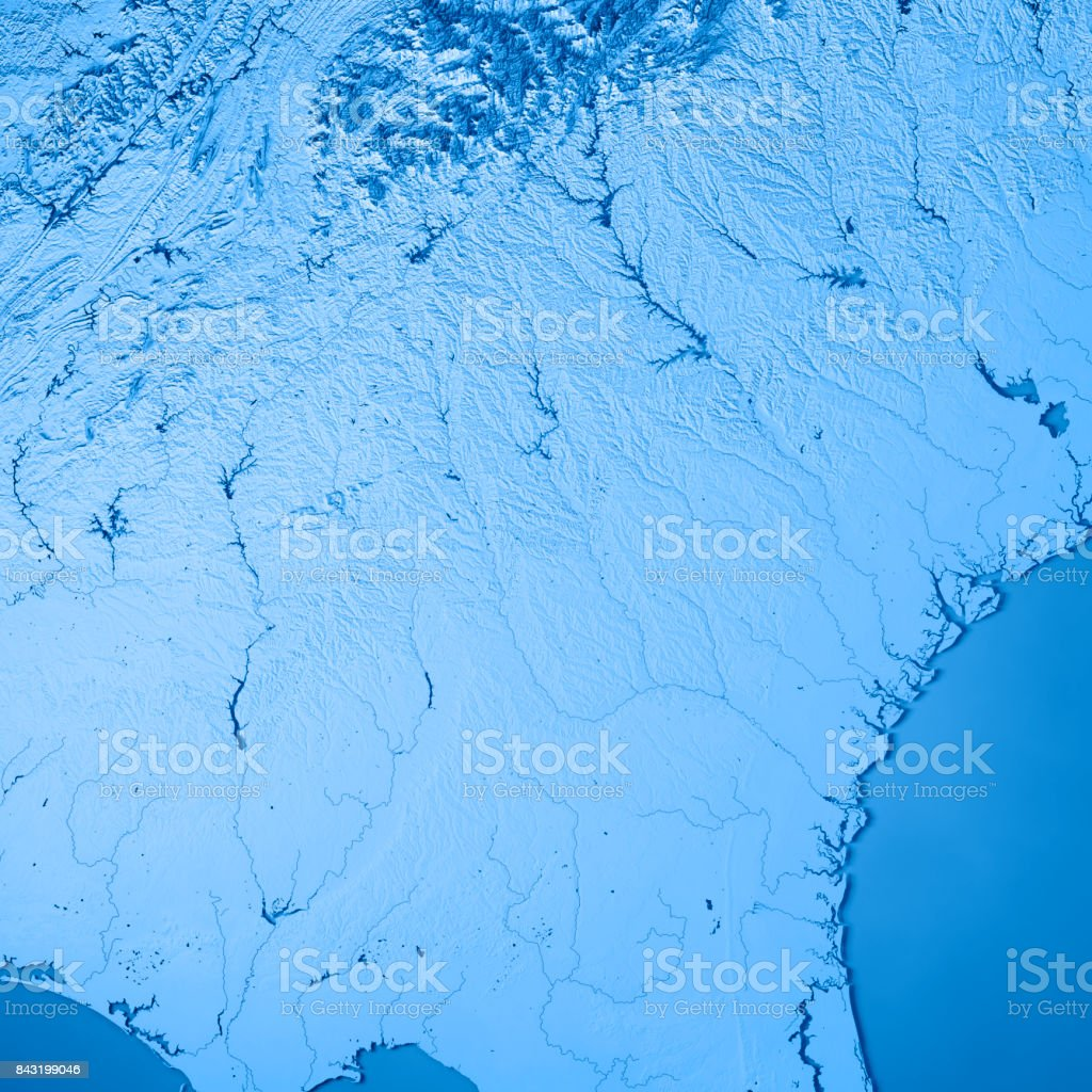 Georgia State USA 3D Render Topographic Map Blue stock photo