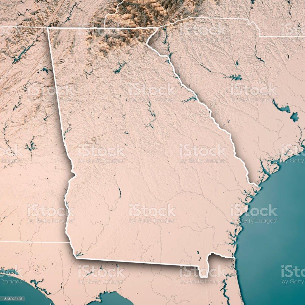 Georgia State USA 3D Render Topographic Map Neutral Border stock photo