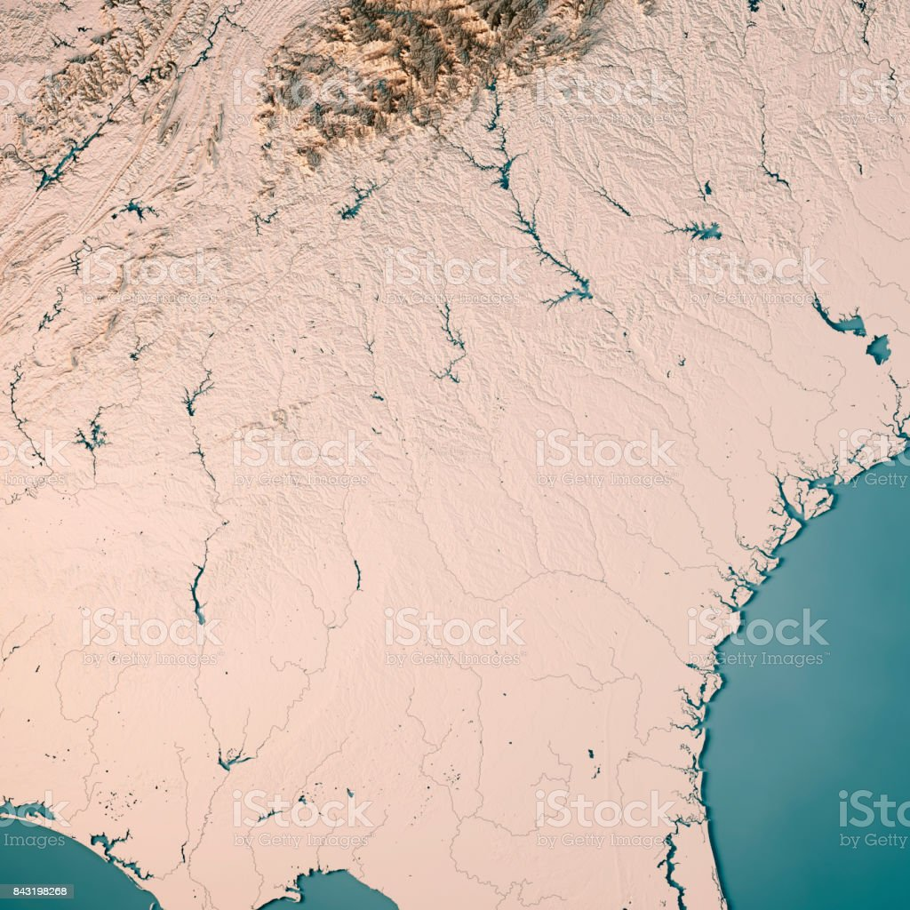 Georgia State USA 3D Render Topographic Map Neutral stock photo