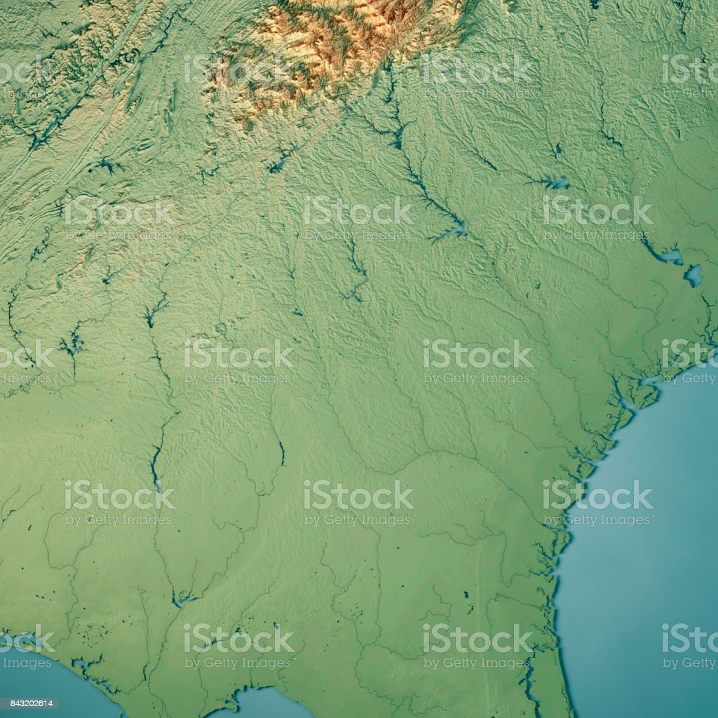 Georgia State USA 3D Render Topographic Map stock photo