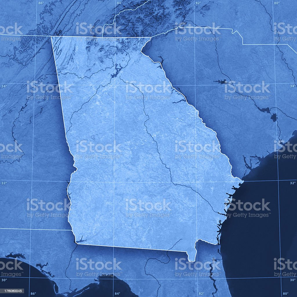 Georgia Topographic Map royalty-free stock photo
