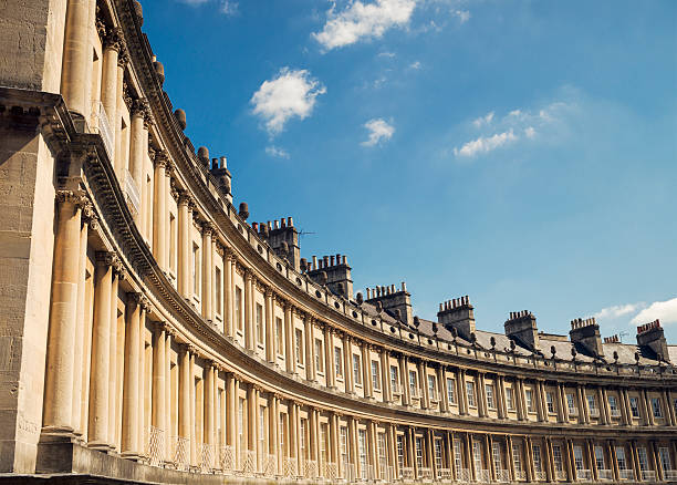 Georgian Architecture - The Circus in Bath Built between 1754 and 1768, and made up of many separately owned properties, The Circus in the English city of Bath is a Grade 1 listed structure, and is divided into three segments. bath england stock pictures, royalty-free photos & images