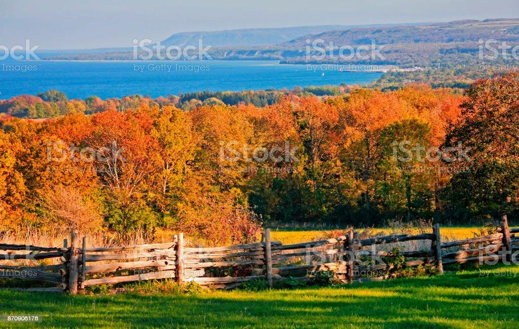 Georgian Bay and Blue Mountain in Autumn stock photo