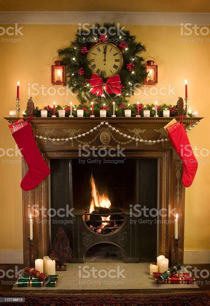 Georgian Christmas Fireplace 2 royalty-free stock photo