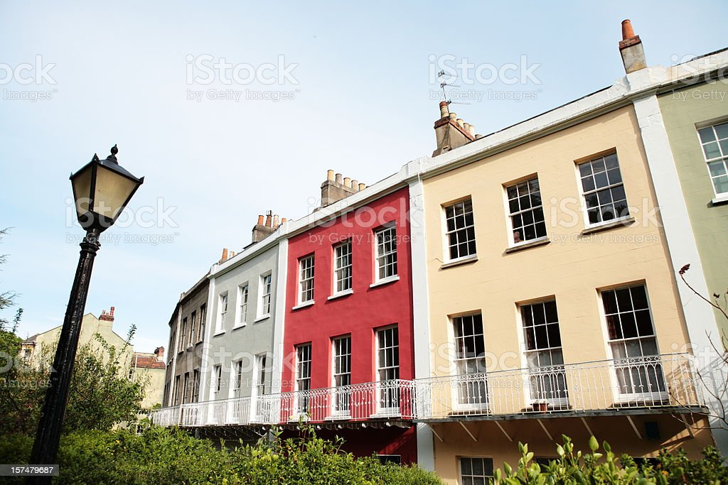 Georgian Colored Houses Lamp stock photo