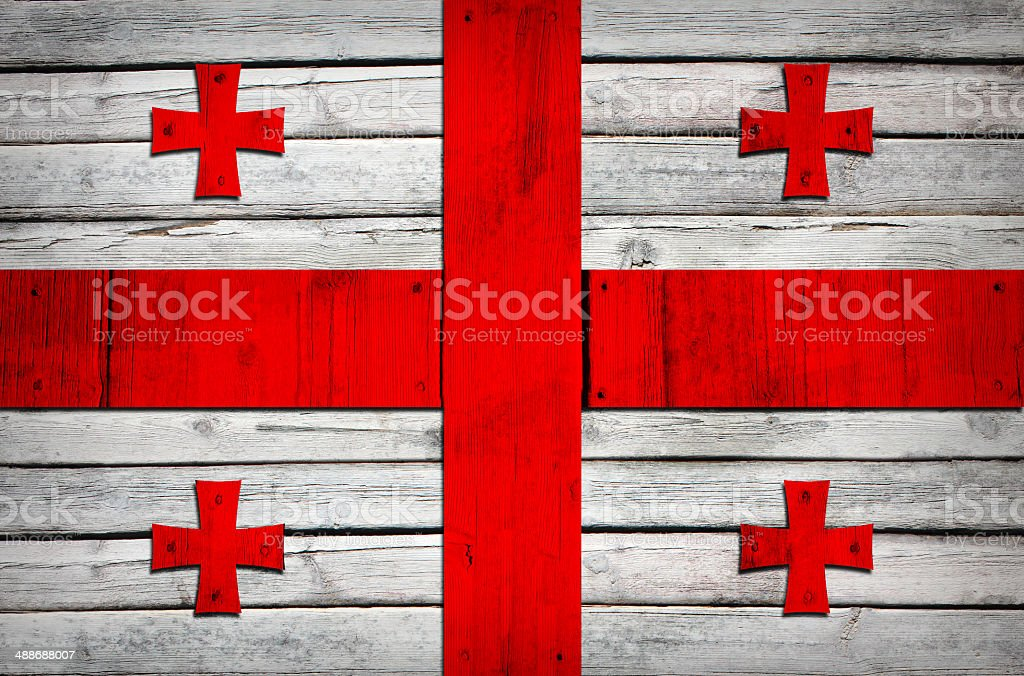 Georgian flag painted on wooden boards royalty-free stock photo