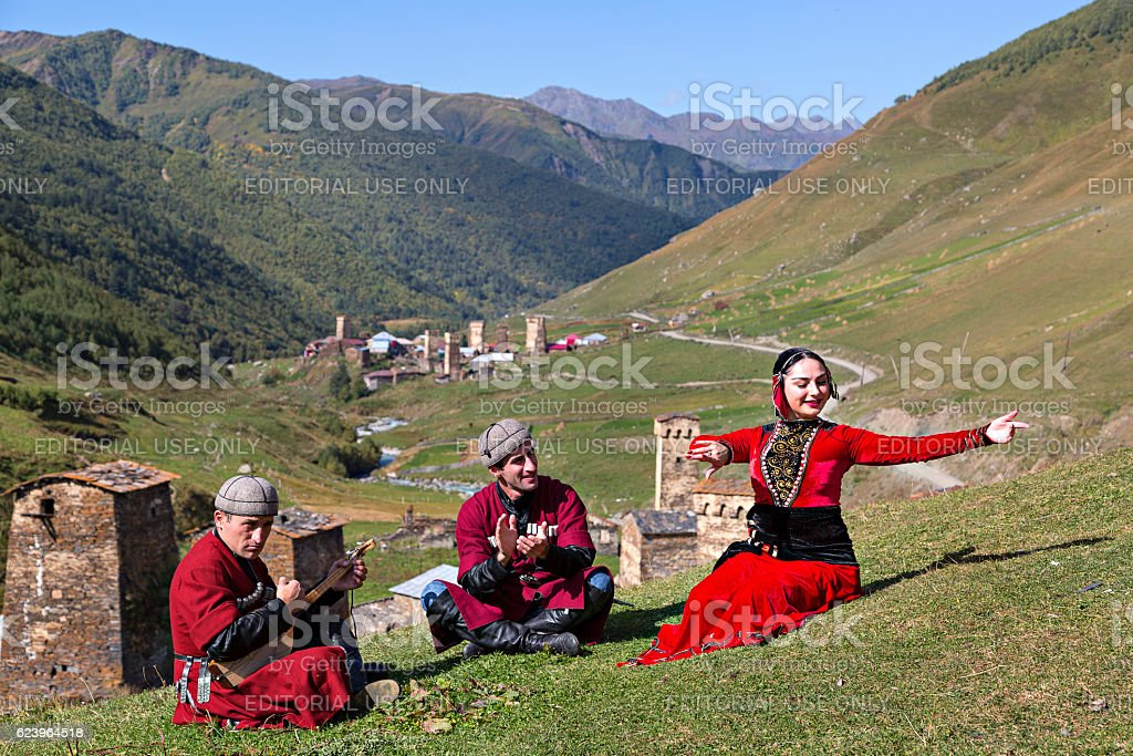 Georgian people in national costumes. stock photo