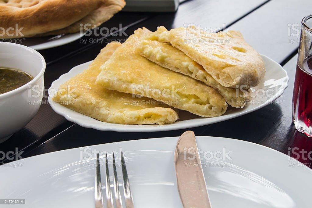 georgian pie with cheese, khachapuri stock photo