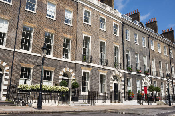 Georgian residential luxury Victorian three storeys town houses in the exclusive Bloomsbury area in Central London. Georgian residential luxury Victorian three storeys town houses in the exclusive Bloomsbury area in Central London. southeast england stock pictures, royalty-free photos & images