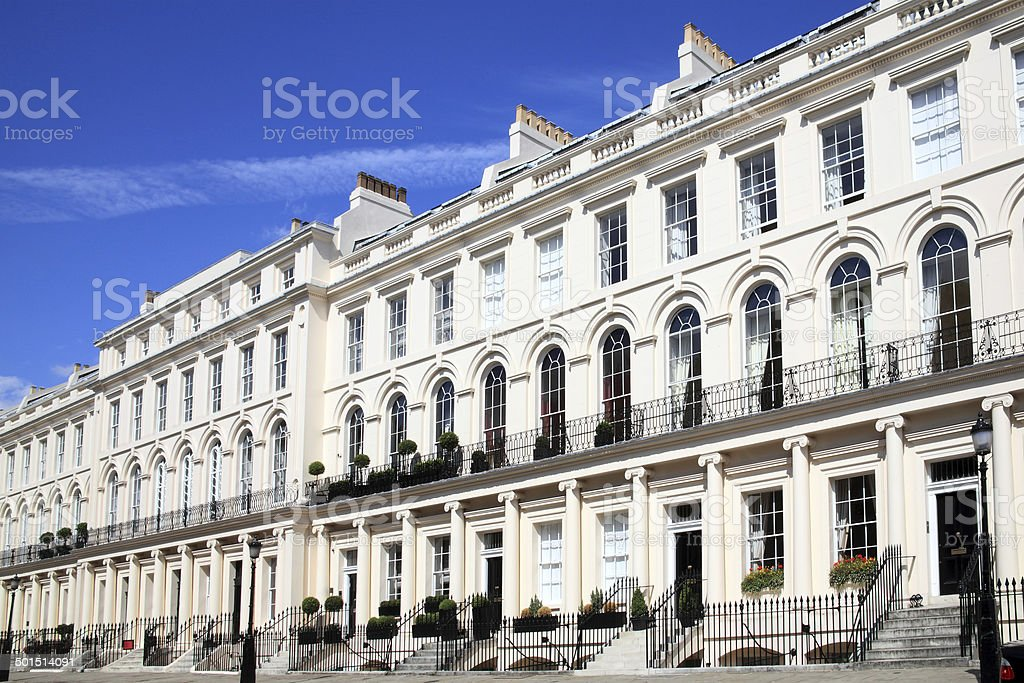 Georgian terraced houses stock photo