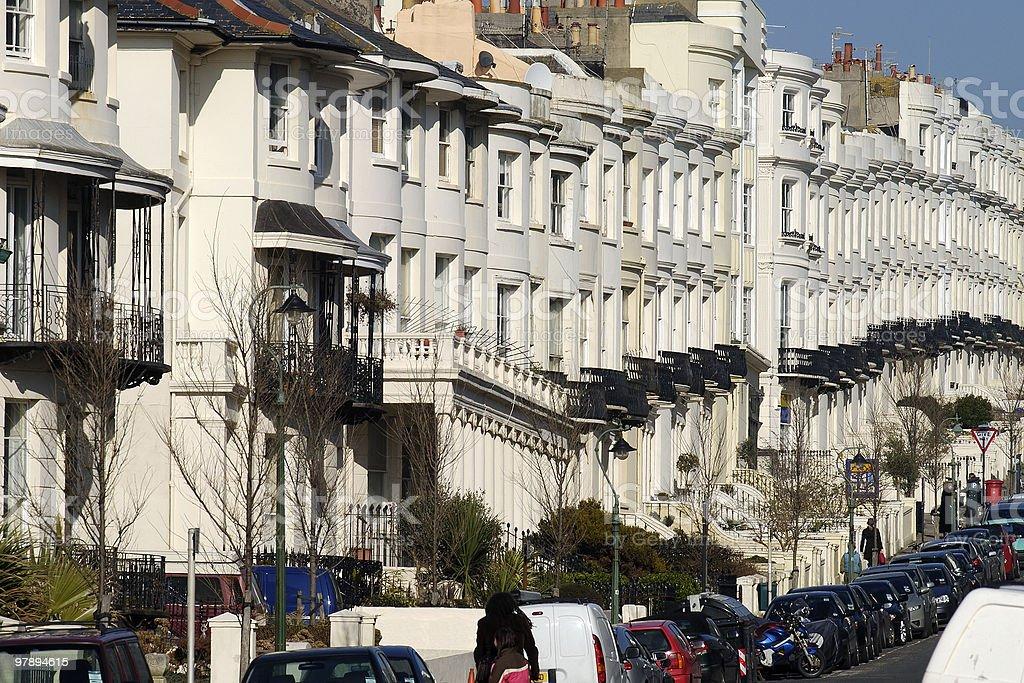 Georgian Terraced housing. Brighton. England royalty-free stock photo