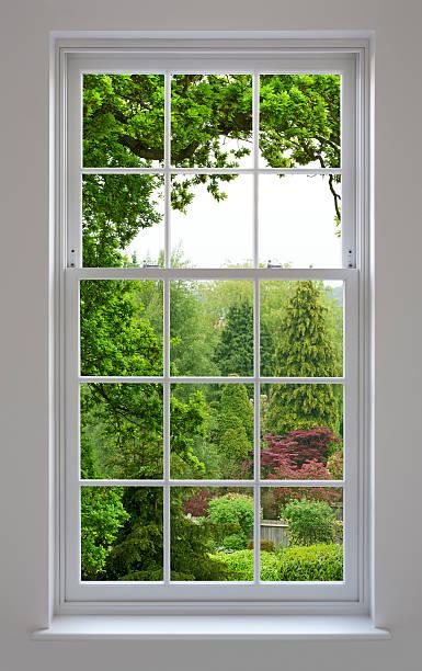 Georgian Windows with garden view stock photo