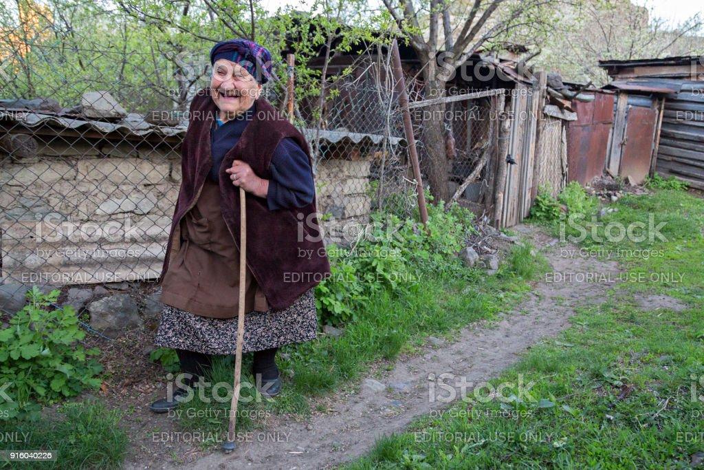 Georgian woman, in Akhaltsikhe, Georgia stock photo