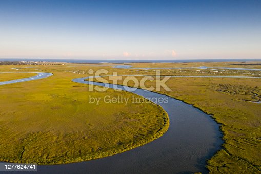 Aerial view of the marshlands between Savannah and Tybee Island. Marshes in Georgia have been identified as one of the most extensive and productive marshland systems in the United States.