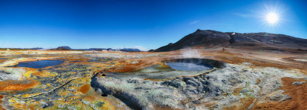 geothermal area Hverir and cracked ground around stock photo