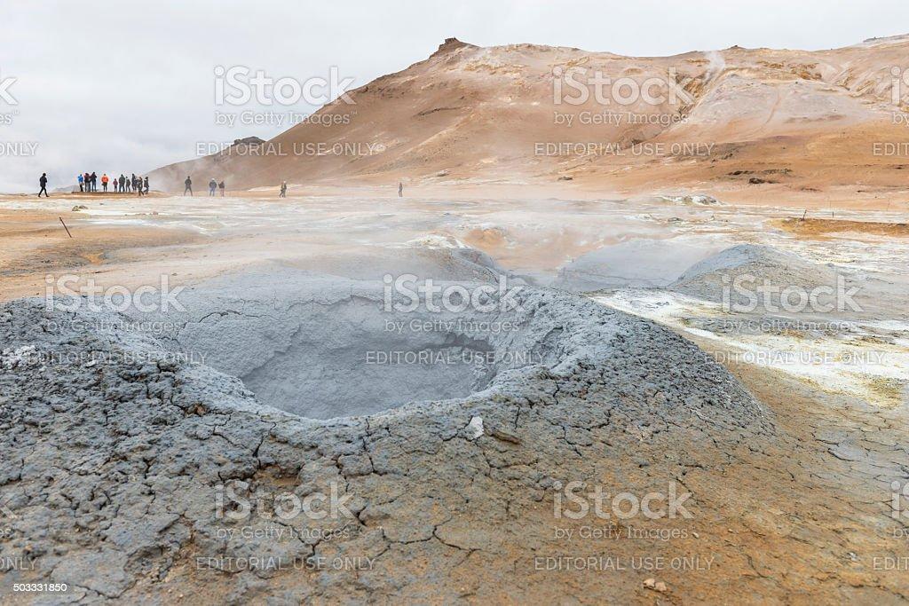 Geothermal field Hveraröndor Hverir in Iceland stock photo
