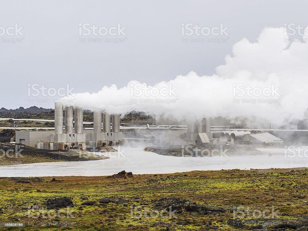 Geothermal field of Gunnuhver, Reykjanes Power Plant royalty-free stock photo