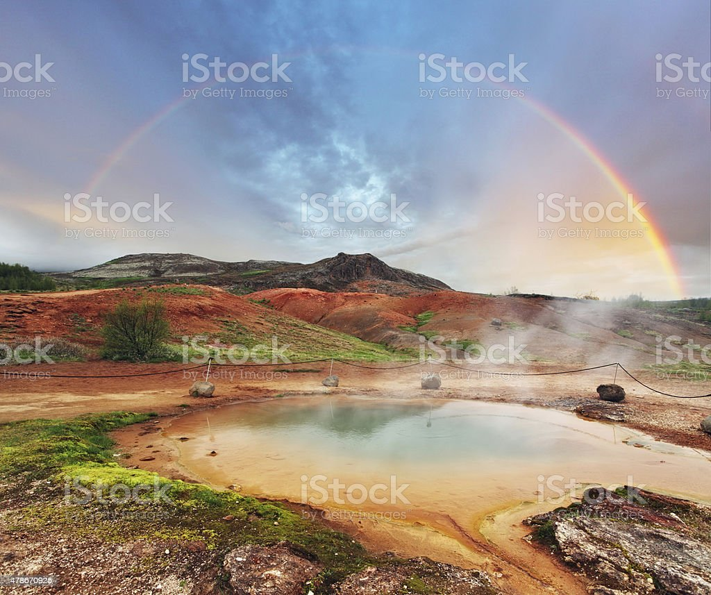 Geothermal hot water at the geysir district in Iceland stock photo