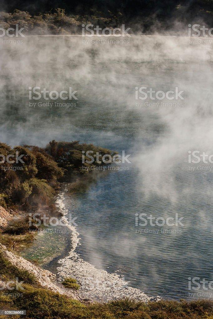 geothermal lake in Waimangu volcanic valley stock photo