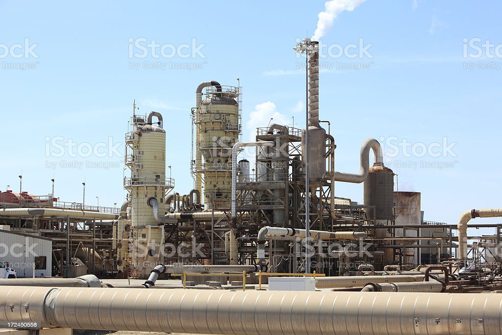 Geothermal Plant With Large Transporting Pipe royalty-free stock photo