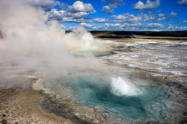 Geothermal Pools and Mist, Yellowstone Basin stock photo
