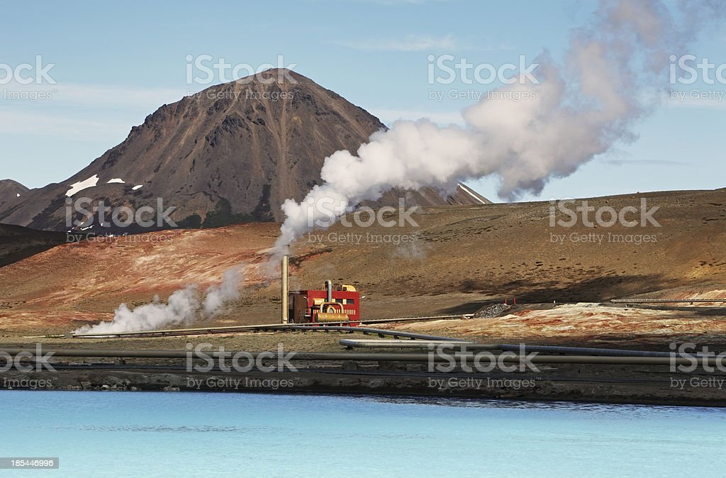 Geothermal power energy station stock photo
