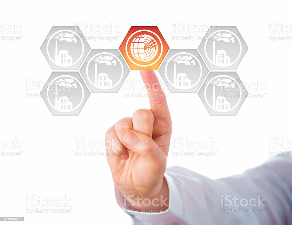 Geothermal Power Icon At Center Of Energy Turn stock photo
