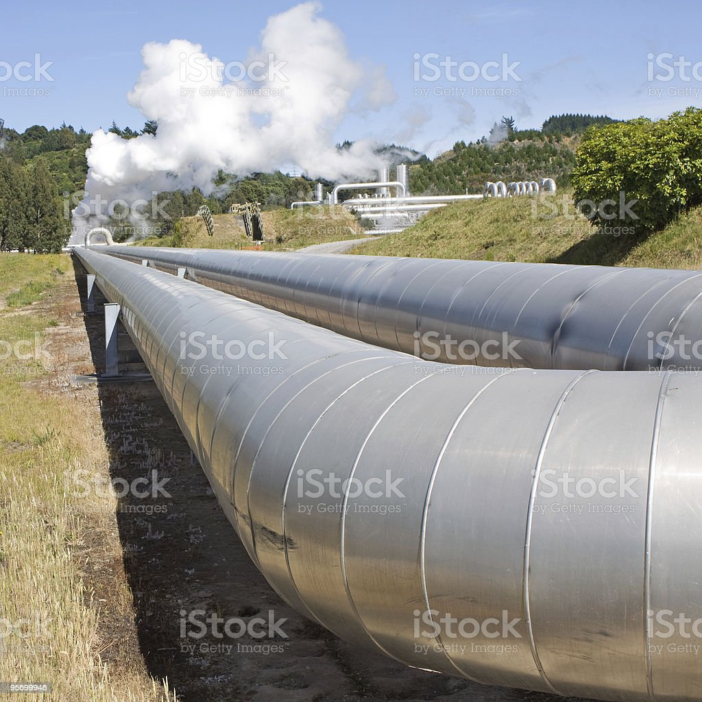 Geothermal power plant pipes royalty-free stock photo