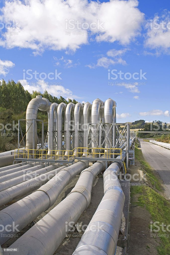 Geothermal power station pipes stock photo