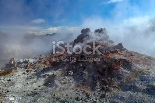 Geothermal region of Hverir in Iceland near Myvatn Lake, Iceland. Sulfur colored land and red roicks creek with steam. Volcanic rocks. Lava field. Icelandic volcanic mountain expanse of hot springs