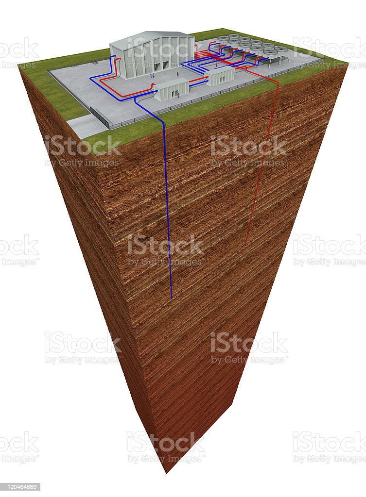Geothermal system with cutting through the earth and deep hole stock photo