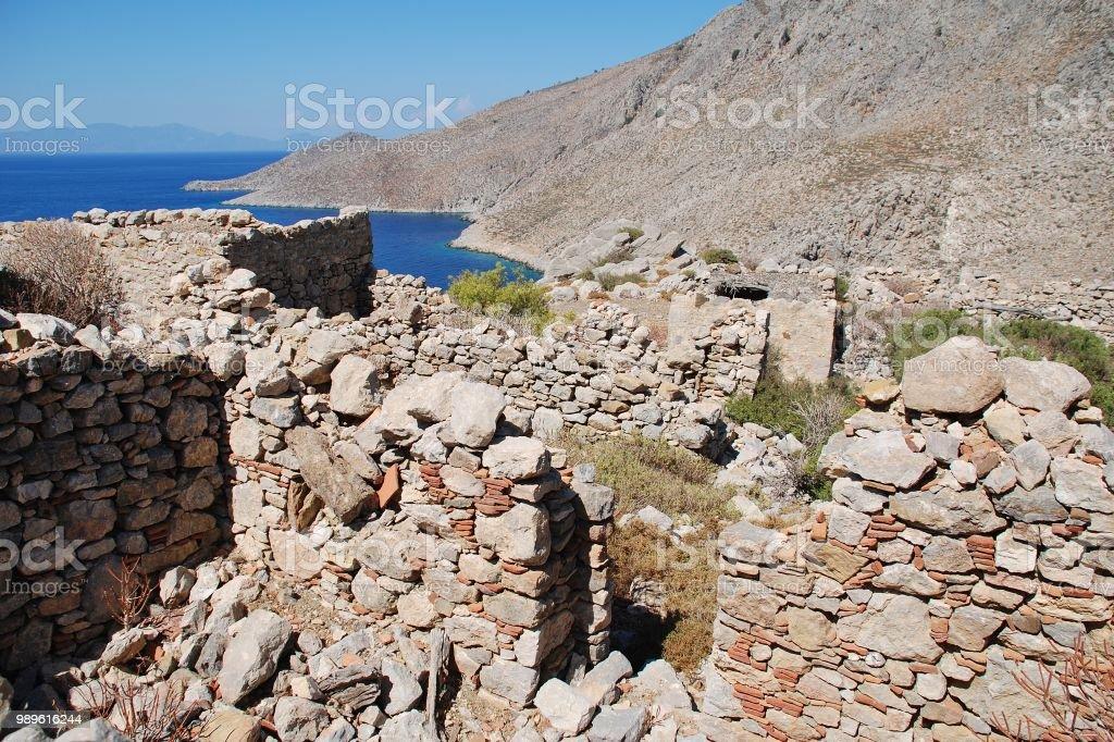 Gera village ruins, Tilos stock photo
