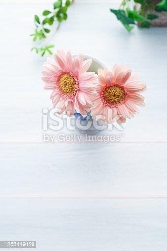 1090975842 istock photo Gerbera flower on wooden table 1253449129