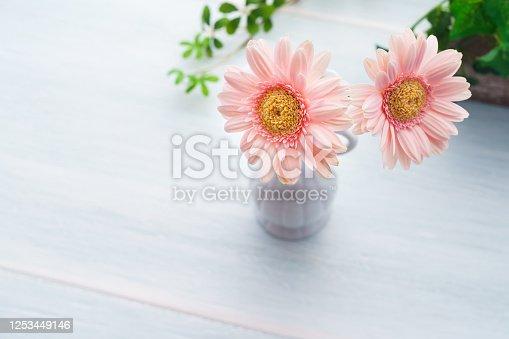 1090975842 istock photo Gerbera flower on wooden table 1253449146